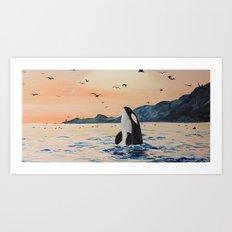 Orca at Sundown Art Print