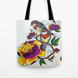Peony Birds Tote Bag