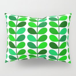 Mid Century Danish Leaves, Emerald and Lime Green Pillow Sham