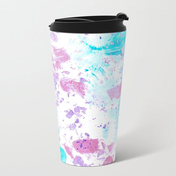 Pink and Blue Metallic Modern Abstract Metal Travel Mug