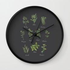 HERBS on black Wall Clock