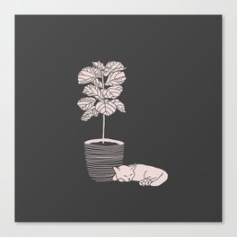 Cat and Plant Canvas Print