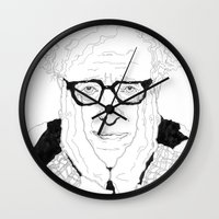 woody allen Wall Clocks featuring Woody Allen by lena kuzina