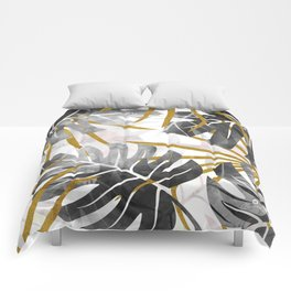 Monstera black and white with golden leaves Comforters