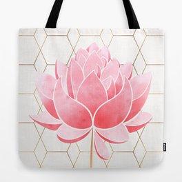 Lotus Blossom - Blush Pink and Metallic Gold Tote Bag