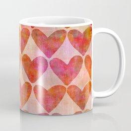 red Hearts mixed media pattern Coffee Mug