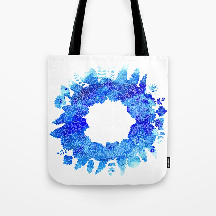 Blue Floral Pattern 01 Tote Bag