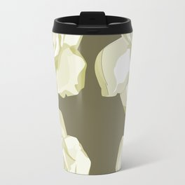 Gray,White Rose background Travel Mug