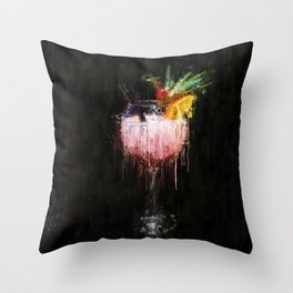 Painted Pink fruit cocktail Throw Pillow