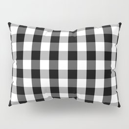 Large Black White Gingham Checked Square Pattern Pillow Sham