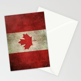 Old and Worn Distressed Vintage Flag of Canada Stationery Cards