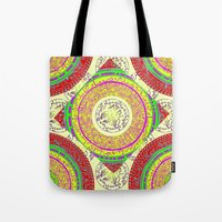 orange pattern Tote Bags featuring Orange pattern  by MinaSparklina