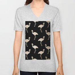 Flamingo Pattern Gold + Black Unisex V-Neck