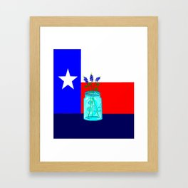 A Texas Flag and Blue Bonnets in a Jar Framed Art Print