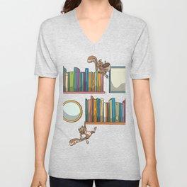 Bookshelf books squirrel Unisex V-Neck