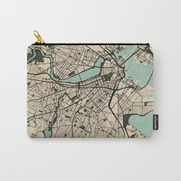 Boston City Map of the United States - Vintage Carry-All Pouch