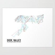 Deer Valley, UT - Minimalist Trail Art Art Print