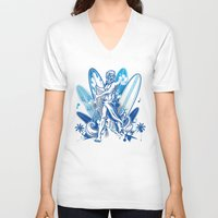 surfboard V-neck T-shirts featuring poseidon surfer on surfboard by Doomko