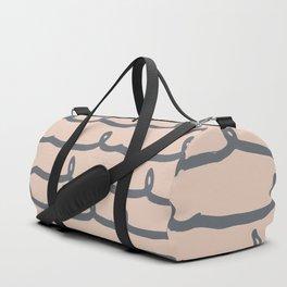 Minimalist Doodle Stripe Navy Gray on Blush Pink Duffle Bag