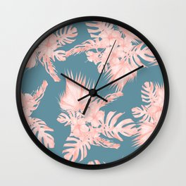 Tropical Palm Leaves Hibiscus Flowers Pink Blue Wall Clock