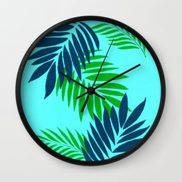 Palm Leaves on Blue Wall Clock