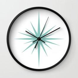 Aqua Blue Mid Century Atomic Starburst Wall Clock