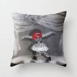 All Strung Up; Human Marionette Throw Pillow
