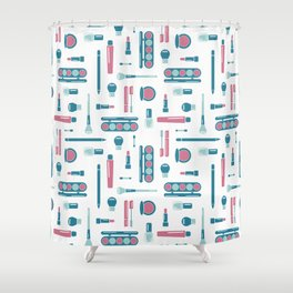 Cosmetic Items Repeating Pattern Shower Curtain