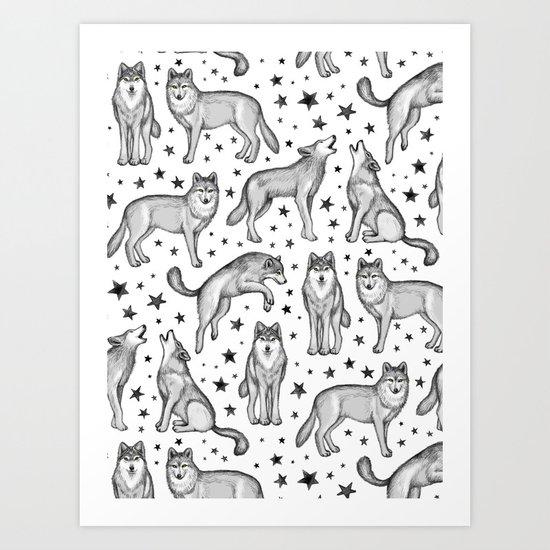 Wolves and Stars on White Art Print