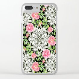 Peach Pink Roses and Mandalas on Black and White Lace Clear iPhone Case