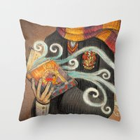 marauders Throw Pillows featuring Books magic by nokeek