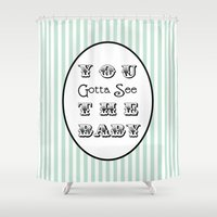 seinfeld Shower Curtains featuring Seinfeld Gotta See the Baby by Eyne Photography