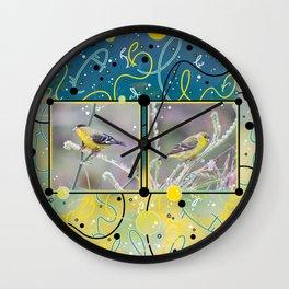 Little Yellow Birds (Lesser Goldfinches) Wall Clock
