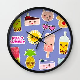 Hello Summer. Pineapple, cherry smoothie cup, ice cream, sun, cat, cake, hamster. Kawaii cute face. Wall Clock