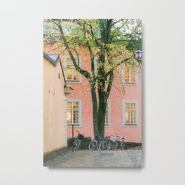 Stockholm, Gamla Stan, Travel Photography, Pastel Streets, Autumn Metal Print