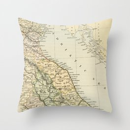 Retro & Vintage Map of Northern Italy Throw Pillow
