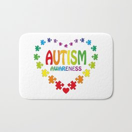 Autism Shirt in Shape of Heart made from Puzzle Pieces Tee Bath Mat