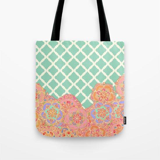 Floral Doodle on Mint Moroccan Lattice Tote Bag