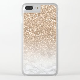 Sparkle - Gold Glitter and Marble Clear iPhone Case