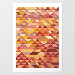 Triangle Pattern no.4 Warm Colors Red and Yellow Art Print