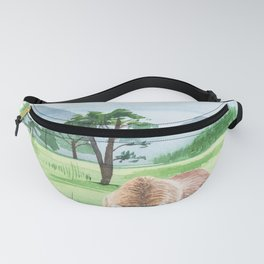 Nature landscape with bear watercolor. Fanny Pack