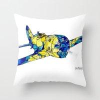 airplane Throw Pillows featuring Airplane by Irina  Mushkar'ova