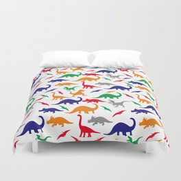 Colorful Dinos in Green, Grey, Red, Blue Yellow Duvet Cover