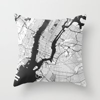 new york map Throw Pillows featuring New York Map Gray by City Art Posters
