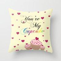 cupcake Throw Pillows featuring Cupcake by Melis Kalpakçıoğlu