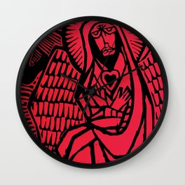 Me - Red - Traditional Surrealism Print Wall Clock