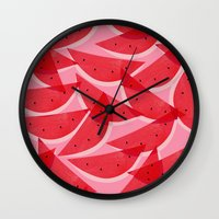watermelon Wall Clocks featuring Watermelon by Georgiana Paraschiv