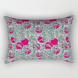 Pomegranates, Fruit, Leaves, Branches in Teals and Fuchsia Rectangular Pillow