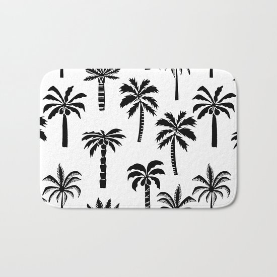 Palm Trees linocut black and white tropical summer art minimalist decor Bath Mat