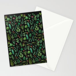 Green garden at nigth 3 Stationery Cards